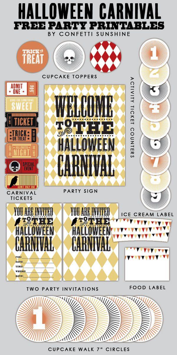 ハロウィンカーニバル:デザートテーブル、無料パーティのPrintables -