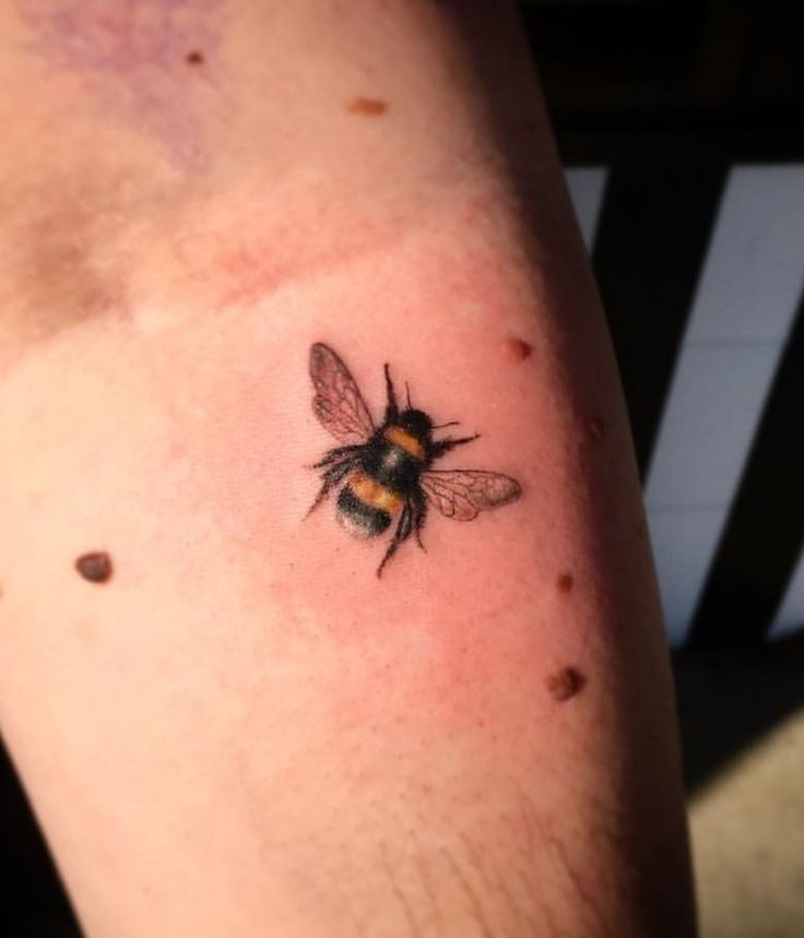 Bee tattoo small tattoo colour bumble bee