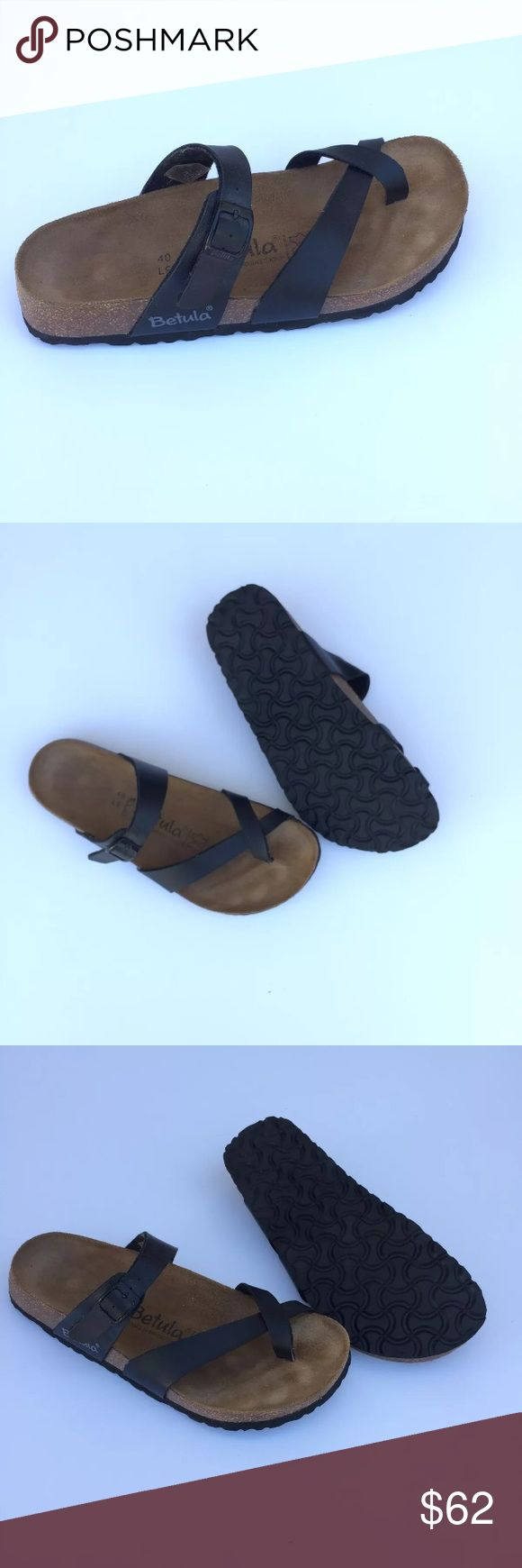 Birkenstock Betula Sandals Slide Toe Loop Ring 40 Betula Birkenstock Sandals Size 40 -- Poshmark US to EU conversions don't always match up.  Check Birkenstock size charts to make sure the 40 is the right size for your American size Black Mia Excellent condition Birkenstock Shoes Sandals