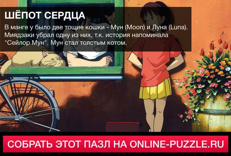 ☝  В манге было две тощие кошки - Мун (Moon) и Луна (Luna). Миядзаки убрал одну из них, т.к. история напоминала «Сейлор Мун». Мун стал толстым котом.