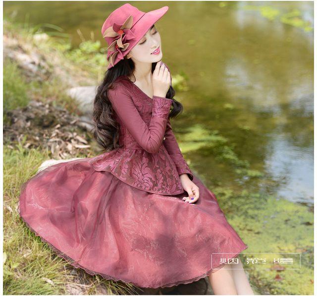Şeytan tarzı 2014 sonbahar yeni varış zarif organze patchwork elbise, kadın elbise kadın giyim özgün tasarım