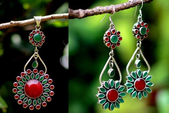 Red and green garnet floral Earring and Pendat chandelier set in Sterling silver