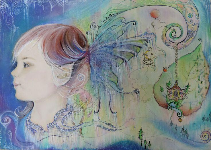 Fairy portrait Pastel pencils, soft pastels, markers