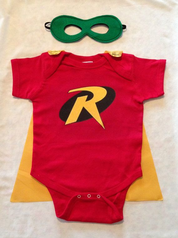 Robin Superhero Baby Outfit with Detachable Satin Cape and Reversible Mask, Batman and Robin Super Hero Apparel or Costume