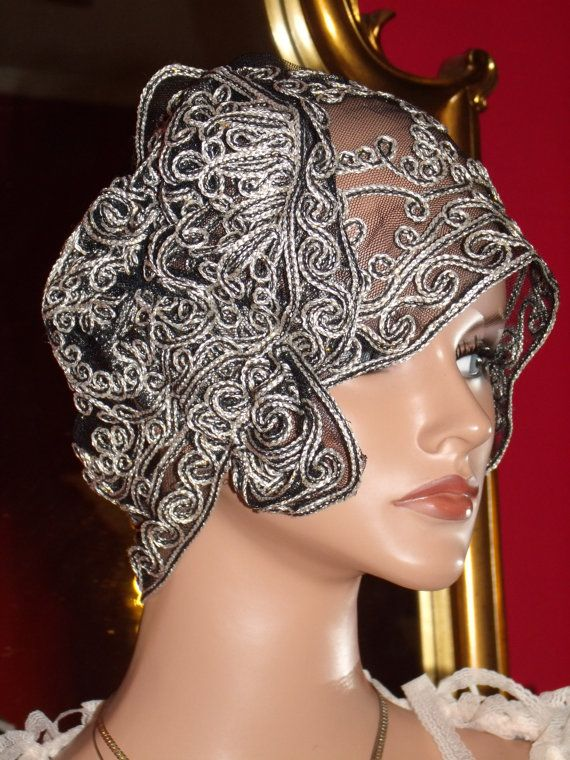 Daytime Summer Wrap 1920s Hat Flapper Cloche Hat Wedding Tulle Embroidery Brilliant Antique White