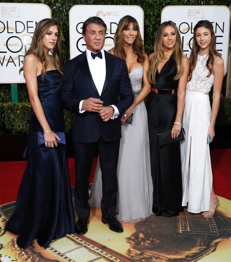 Actor Sylvester Stallone and his wife Jennifer Flavin (C) arrive with their daughters at the 73rd Golden Globe Awards in Beverly Hills, California January 10, 2016.