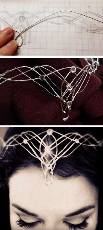 DIY Elvish Crown Tutorial from Rachel Ann Poling.This is a 2 part tutorial for making this wirework DIY Elvish Crown. Part 1 - the design phase - is here.After doing wirework myself and posting hundreds of wire DIYs on truebluemeandyou, what I found most interesting about this tutorial were the mistakes made and how they were fixed.If you are interested in making Cosplay wire accessories, I would definitely look into this 4 part series: Everything You Need to Know About Jewelry Wire.
