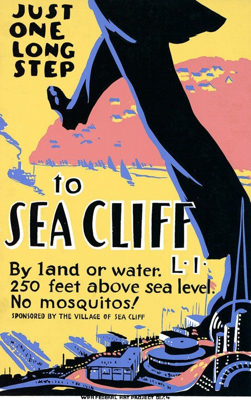 A Works Progress Administration Federal Art Project poster promoting tourism in Sea Cliff, Long Island, c. 1938