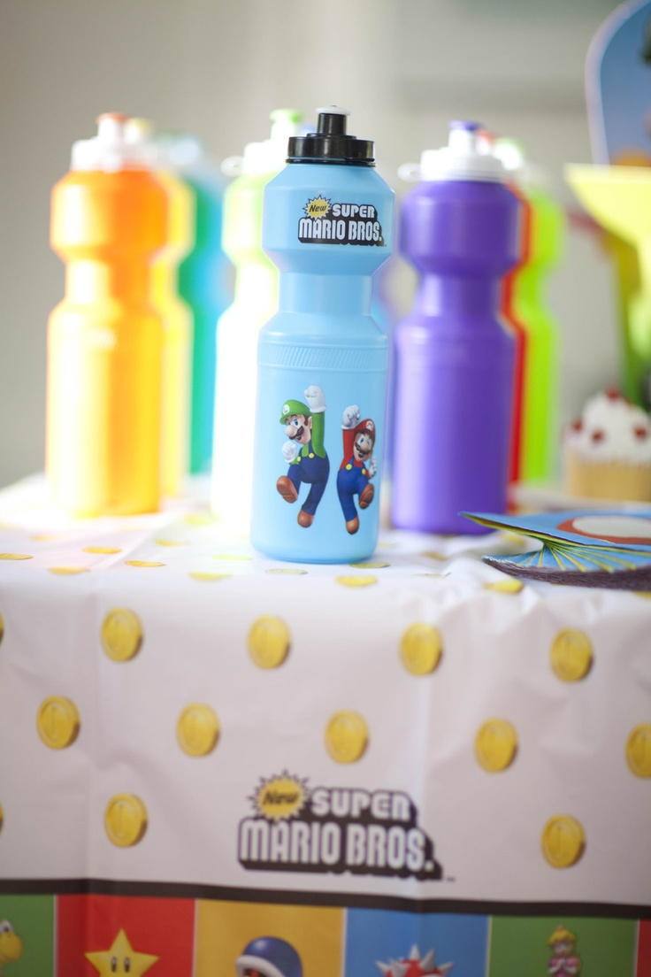 Super Mario Bros. Water Bottles and Party Favors! #Kids #Party #BirthdayExpress