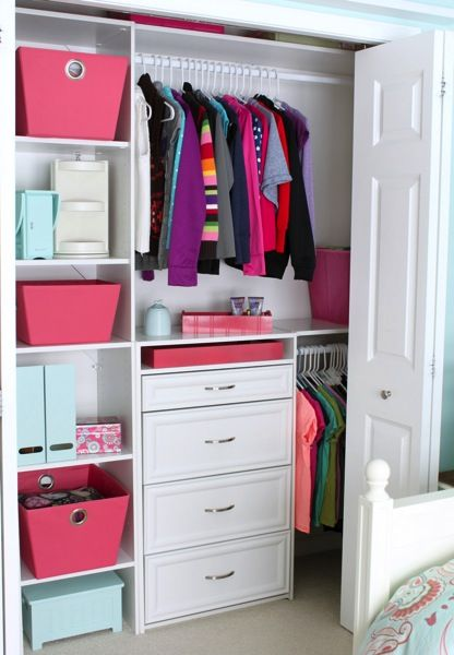 pink and white closet interior