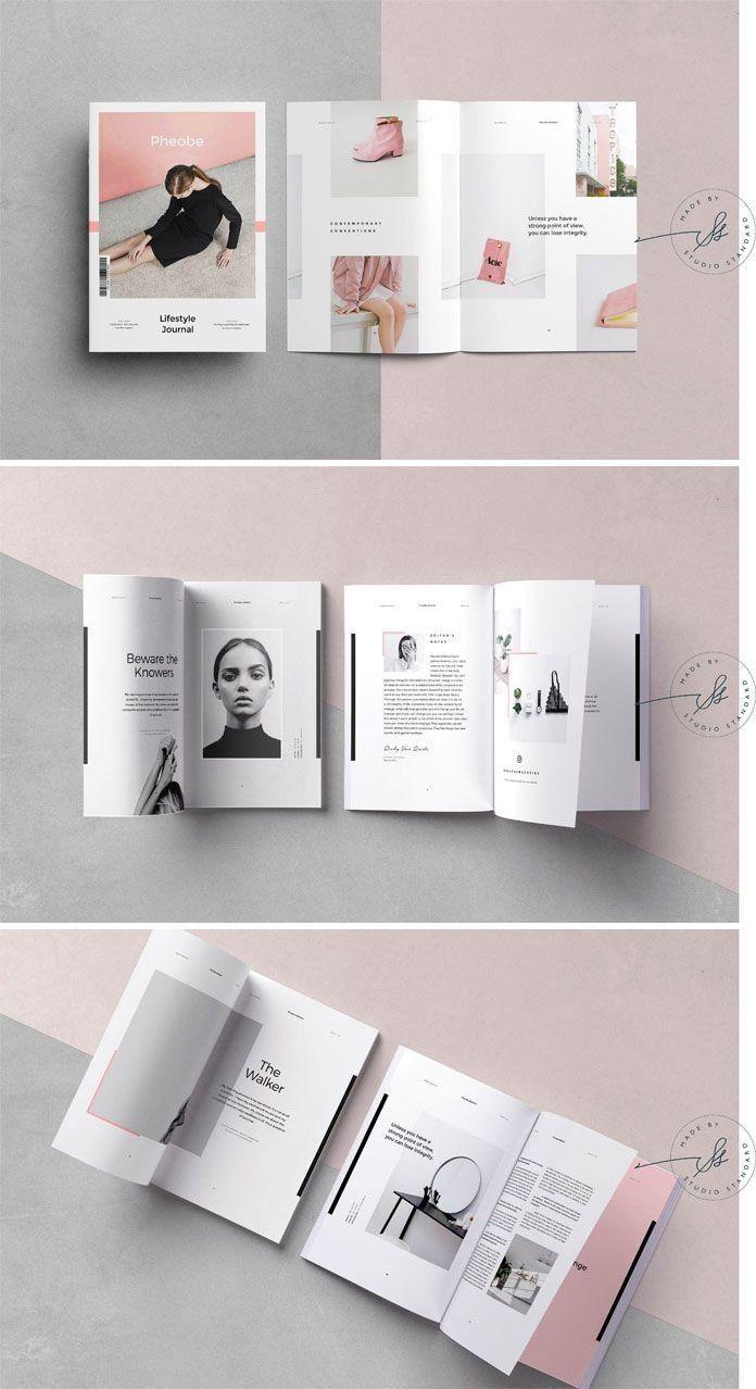 Phoebe Adobe Indesign Magazine Vorlage Modezeitschriften Entwurf Indesign Vorlagen Broschurendesign