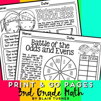 This pack includes 36 print and go pages aligned to 3rd grade CCSS math standards. These pages are perfect for homework, morning work, sub folders, independent practice, early finishers, etc. They would also make a great summer review packet.Check out the preview or keep reading to see what's included!36 FUN PAGES:Multi-Step Word Problems (3.OA.3, 3.OA.8)Get on the Bus: Multi-Step Word Problem (3.NBT.2, 3.OA.3, 3.OA.8)Area and Perimeter Problem Solving (3.MD.5, 3.MD.7, 3.MD.8)Rounding to…