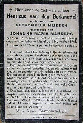 Bidprentje Henri v d Berkmortel. mijn  tante hanneke jansen  was getrouwd , met een  harry vanden berkmortel, , ik  denk rond  1943 of 1944 , zij kwam  van het rinkveld ,dochter van  jan jansen ,en drieneke verberne ,jansen !!