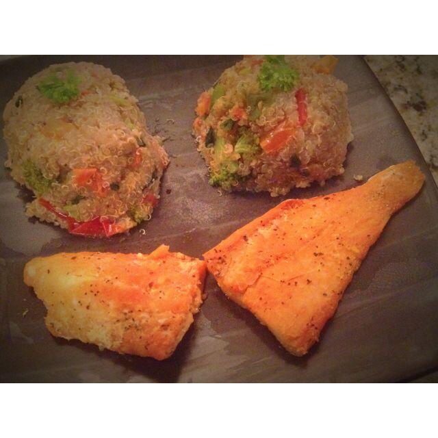 Veggie Quinoa pelau with baked salmon