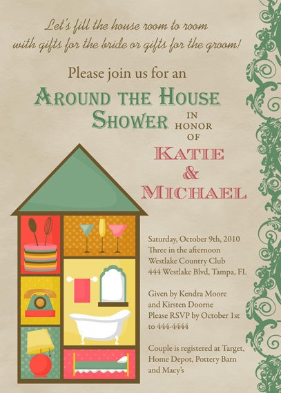 around the house bridal shower invitations by
