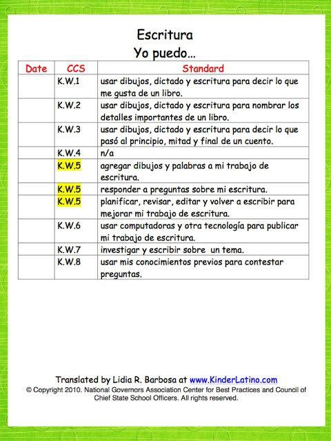 Kinder Latino: Bilingual Teaching Resources: Spanish Common Core Standards