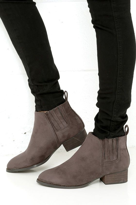 Grey Suede Ankle Boots...I just wish they were a lighter color but live the style!