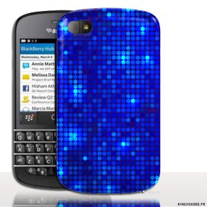 Coque BlackBerry Q10 | Design Disco Bleu | Coque de protection arriere. #Strass #Q10 #Coque