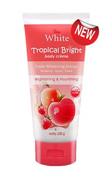 Viva White Tropical Bright Body Creme provides last longer moisture and makes skin look brighter and shiny. Get the benefit of Triple Whitening Extract (Mulberry, Apple & Peach) perfect combination for nourished and brighter looking skin, UV Filter protects your skin from sun rays and Moisturizer gives extra moisture Enjoy the softness and freshness of fruit scent to cheer you up all day long.