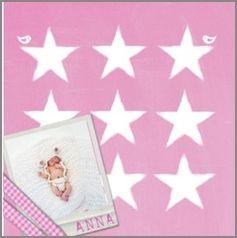 Kaartmix Geboortekaartjes krijt/foto roze meisjeskaartje chalk/birth announcement