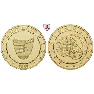 Slowakei, Goldmedaille 2010, 2,07 g fein, PP: Goldmedaille 26 mm 2,07 g fein, 2010. Auf die Euro-Einführung in der Slowakei. GOLD,… #coins