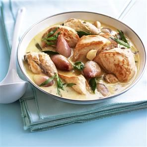 Chicken saute with white wine, shallots and tarragon. Low carb, salt, and low fat.