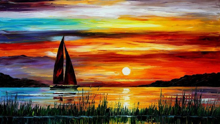 Exquise peinture, coucher de soleil mer bateau Hintergrundbilder - 1920x1080 Full HD