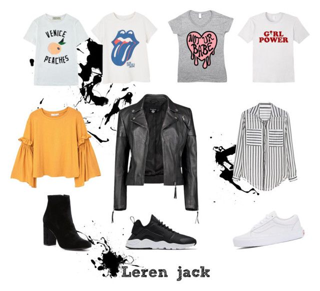 Leren jack by larissavanderzijdenxo on Polyvore featuring mode, MANGO, Être Cécile, Boohoo, Vans, Witchery and NIKE