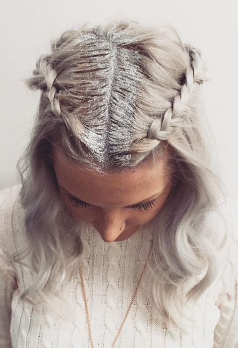 Blogger with glitter roots