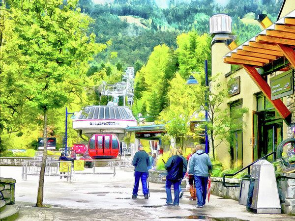 A Stroll Through Whistler Village - Blackcomb Gondola Art Print by Leslie Montgomery.