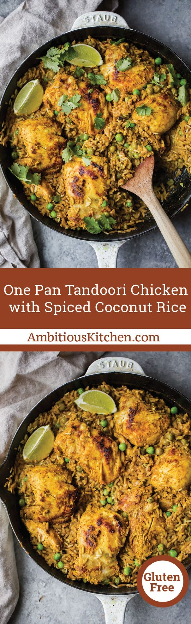 Tandoori chicken made in one pan with a savory spiced yellow coconut rice. This global flavored recipe is perfect for meal prepping or serving for a weeknight dinner!