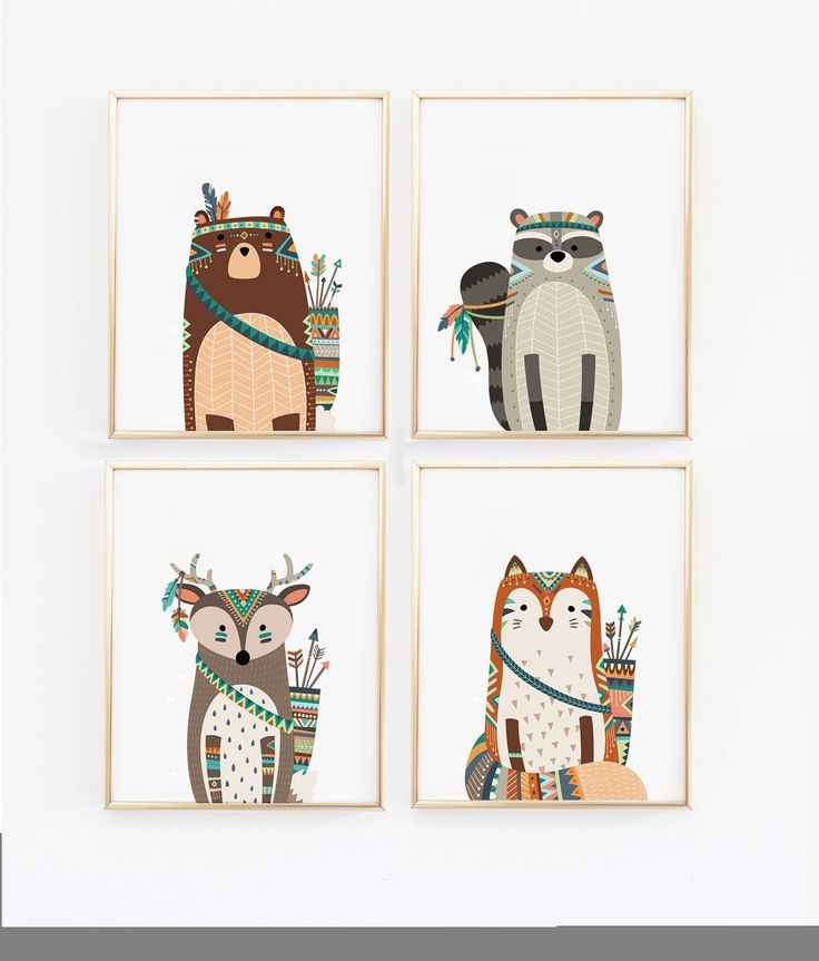 These four prints would be great for a woodlands or tribal themed nursery. The woodland creatures are adorable! Perfect for the playroom, child's room, nursery, anywhere! This also makes a great showe