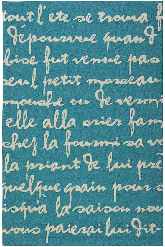 Turquoise rug with French sonnet about a grasshopper and an ant.