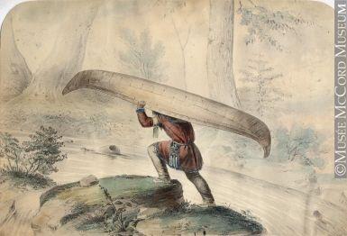 Amerindian portaging a canoe cornelius krieghoff