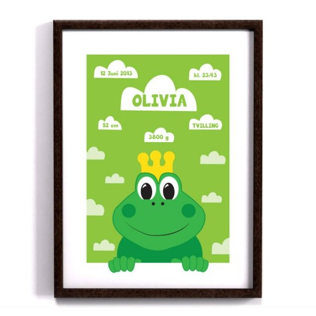 The cutest little birth announcement print with a peekaboo frog by Forma Nova #nordicdesigncollective #frog #peekaboo #birth Announcement #birthannouncement #formanova #dop #doptavla #namerint #personalized #personalizedprint #printondemand #pod #green #crown #groda #poster #print #printing