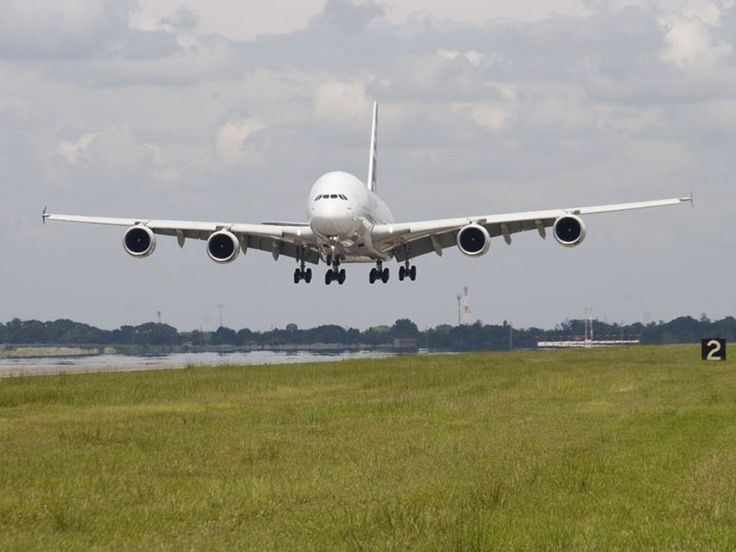 Airbus A380 coming in to land at Clark International Airport (the former US Air Base Clark Field), Angeles City, Philippines.