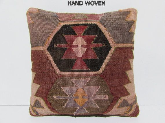 VIEW ALL KILIM PILLOWS http://www.etsy.com/shop/DECOLICKILIMPILLOWS  HAND WOVEN ORIENTAL TURKISH KILIM PILLOW COVER by DECOLIC TURKIYE.  1- Size: 16x16 Inches / 40x40 cm. 2- Material: Cotton & Wool 3- Front side: Unique Kilim Rug Fabric 4- Back side is cotton fabric with hidden zipper. 5- Shipping worldwide. ----------------------------------------------------------------------------------------------- You can also buy insert for this pillow cover by visiting: www...