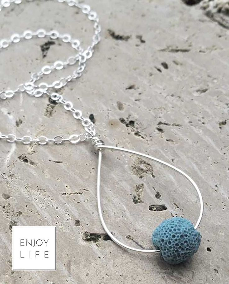 JUST ONE DROP Silver Tear Drop Diffuser Necklace with Single Lava Bead (3 color options)