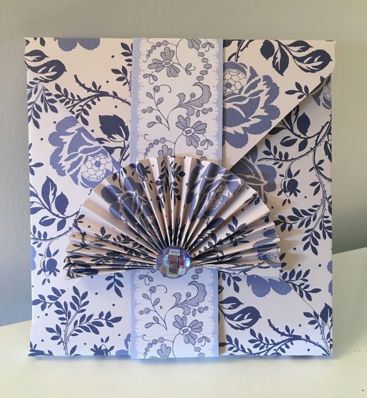 Vintage style box envelope with belly band & fan/Jewel embellishment...