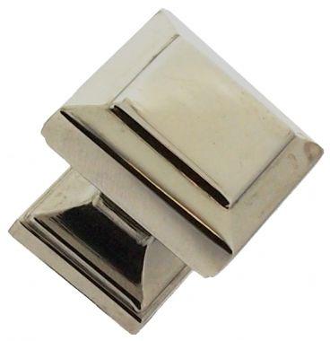Bouton de porte et tiroir de meuble en zamak nickel poli 25x25mm, BRIO | Bouton et poignée de meuble