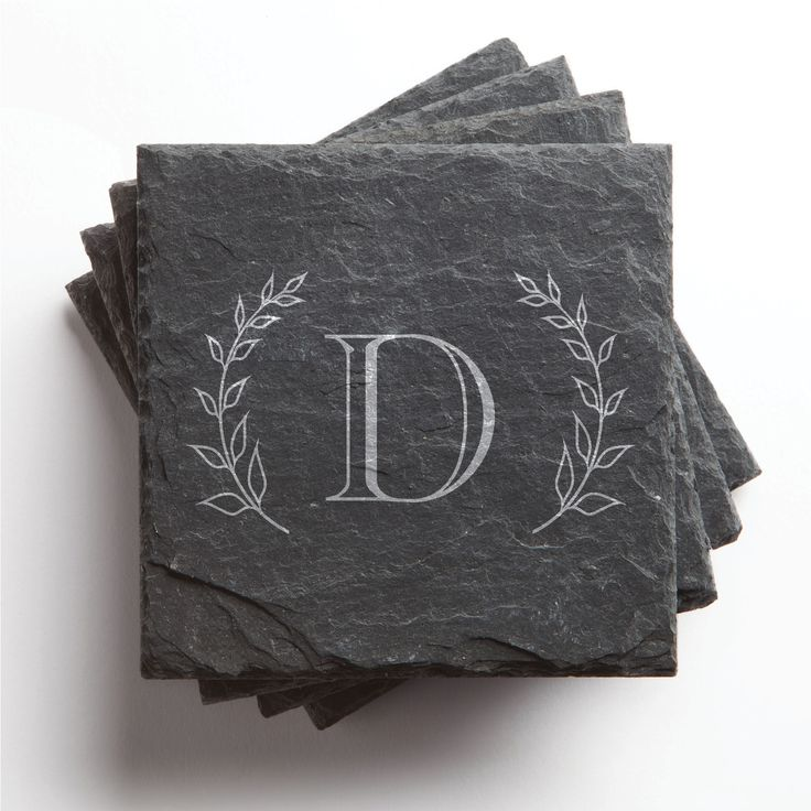 Keep your furniture safe with this set of 4 coasters. Made of stunning charcoal slate. Personalize each one with any single initial you choose. Set of 4, each coaster measures 4-inch x 4-inch. Equippe