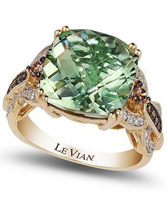 So beautiful! Le Vian Green Amethyst (6 ct. t.w.) and Diamond (1/3 ct. t.w.) Ring in 14k Gold