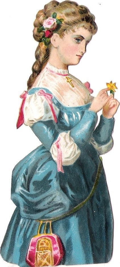 Oblaten Glanzbild scrap die cut chromo Dame Lady femme Blume flower Rose