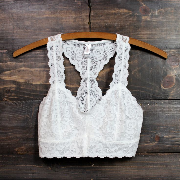 white racer back all over scalloped lace bralette