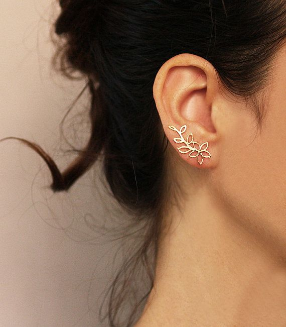 Gold flower ear cuff and stud Flower Ear Climber by sigalitaJD