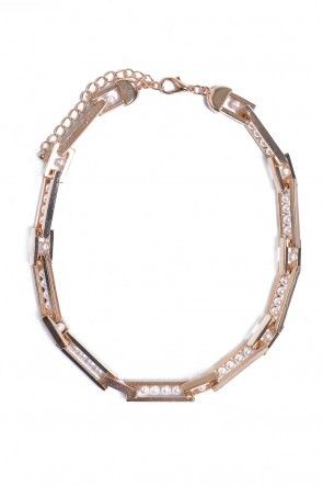 Yolanda Pearl and Gold Links Necklace in Gold