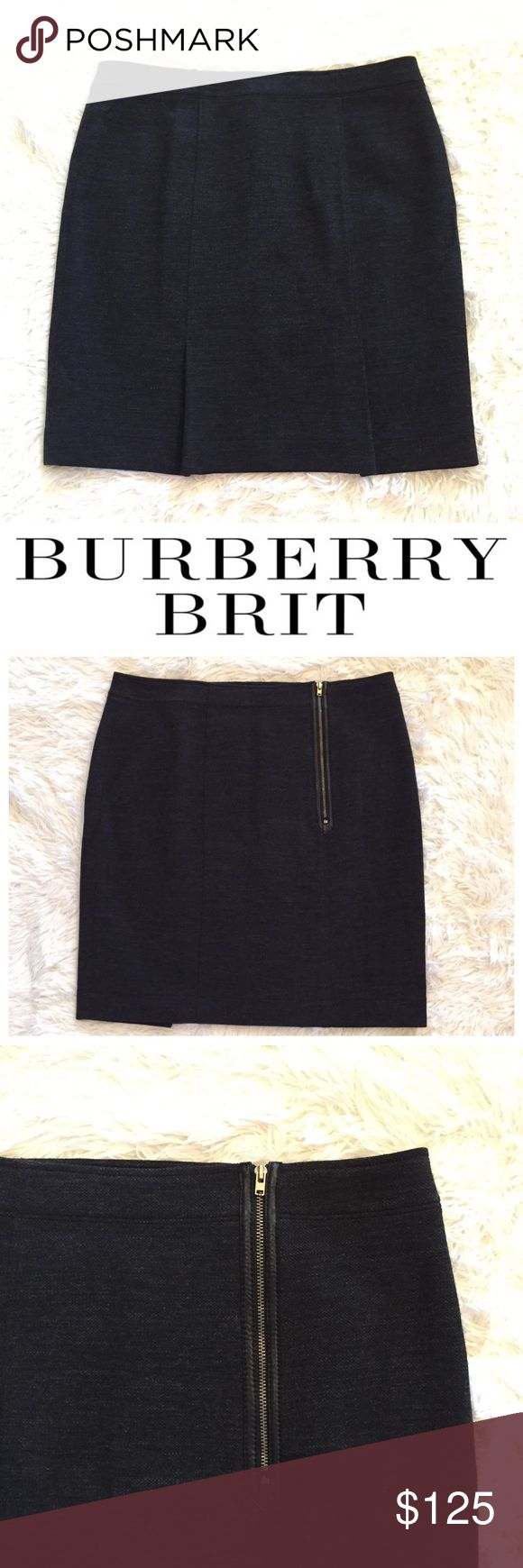 """Burberry Gray Wool Pencil Skirt Burberry Brit dark gray pencil skirt. Virgin wool/cotton. Fully lined. Off-center front zipper with leather trim. 2 back seams with inverted pleats. Approx. measurements: waist 17"""", hips 20"""", length 19.5"""". Burberry Skirts Pencil"""