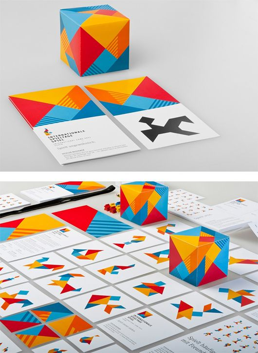German designer Stefan Zimmermann created this beautiful and comprehensive identity system for the Internationale Spieltage SPIEL, the world's largest trade event for board games.  The concept was inspired by Tangram, the traditional Chinese puzzle – 7 shapes, multiple possibilities and representations.