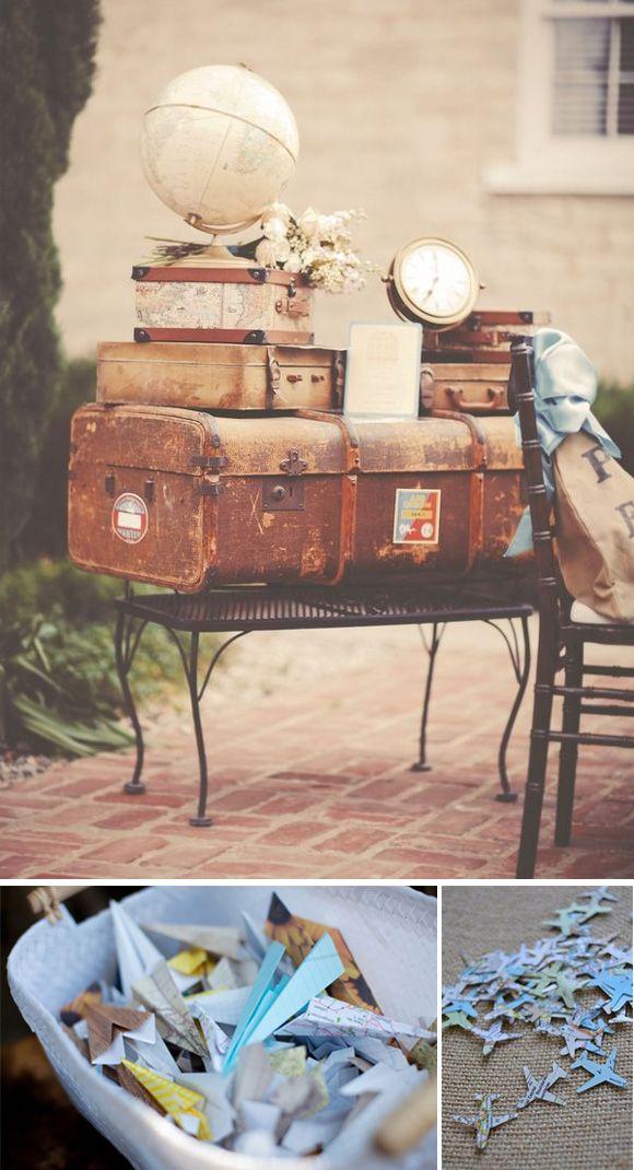 Bodas con temática de viajes 7 maleta vintage confetti aviones papel