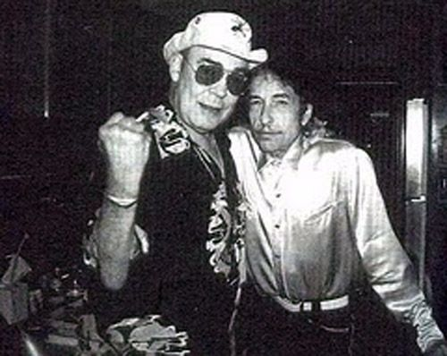 "Bob Dylan & Hunter S. Thompson ""Music has always been a matter of Energy to me, a question of Fuel. Sentimental people call it Inspiration, but what they really mean is Fuel. I have always needed Fuel. I am a serious consumer. On some nights I still believe that a car with the gas needle on empty can run about fifty more miles if you have the right music very loud on the radio."" — Hunter S. Thompson"
